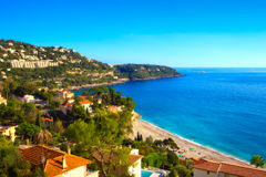 The Golfe Bleu beach as viewed from above. An elevated photograph of the amazing beach near Cap Martin in the south of France Stock Photo