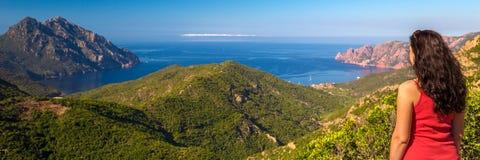 Golfe de Girolata από Bocca Di Palmarella, Κορσική, Γαλλία Στοκ Εικόνες