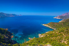 Golfe de Girolata from Bocca Di Palmarella, Corsica, France. Stock Photo
