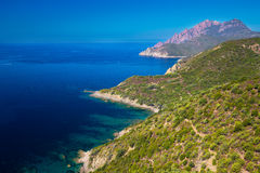 Golfe de Girolata from Bocca Di Palmarella, Corsica, France. View from famous D81 coastal road with view of Golfe de Girolata from Bocca Di Palmarella, Corsica Stock Photos