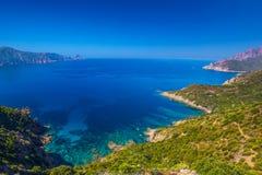 Golfe de Girolata från Bocca Di Palmarella, Korsika, Frankrike Arkivfoto