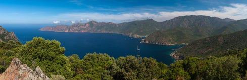 Golfe de widescreen Girolata Arkivbilder
