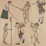 Golfe e jogadores de golfe do vintage - entregue vetores tirados, freehands ilustração stock