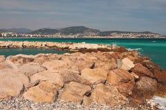 Golfe pierreux de côte et de mer Gentil, France image stock