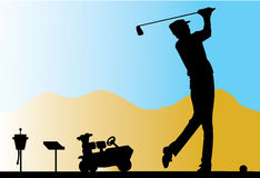 Golfer. Silhouette of a golf player Stock Photos
