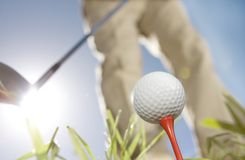 Golfer. Low angle shot of golfer stock photography