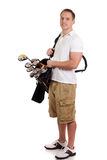 Golfer. Young male golfer. Studio shot over white stock photos