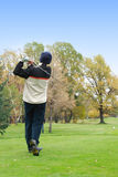 Golfer. After strike. Emty space for text royalty free stock photo