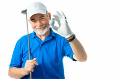 Golfer. Isolated on a white background royalty free stock images