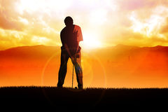 Golfer. Silhouette illustration of a golfer Stock Image