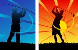Golfer. Illustration of golfers on sunset royalty free illustration