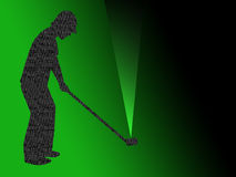 Golfer. Textured silhouette, over green background Royalty Free Stock Images