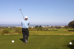 Golfer. Playing golf on the tee box. Copy space Stock Image