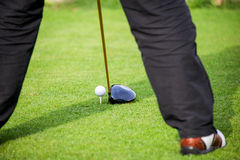 Golfer addresses golf ball. With driver in tee box Stock Photography