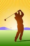 Golfer Afterswing. Golfer hitting ball toward the green stock illustration