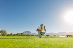 Golfer aiming to make his next putt perfect. Young golf player aiming to make his next putt perfect.  Male golfer check line for putting golf ball on green Royalty Free Stock Image
