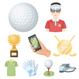 A golfer, a ball, a club and other golf attributes.Golf club set collection icons in cartoon style vector symbol stock Stock Images