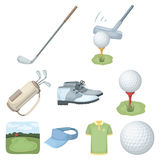 A golfer, a ball, a club and other golf attributes.Golf club set collection icons in cartoon style vector symbol stock Stock Photos