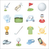 A golfer, a ball, a club and other golf attributes.Golf club set collection icons in cartoon style vector symbol stock Stock Image