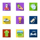 A golfer, a ball, a club and other golf attributes.Golf club set collection icons in flat style vector symbol stock Royalty Free Stock Photography
