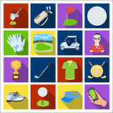 A golfer, a ball, a club and other golf attributes.Golf club set collection icons in flat style vector symbol stock Stock Images