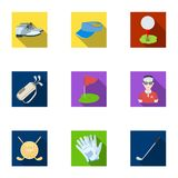 A golfer, a ball, a club and other golf attributes.Golf club set collection icons in flat style vector symbol stock Royalty Free Stock Images