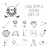 A golfer, a ball, a club and other golf attributes.Golf club set collection icons in outline style vector symbol stock Stock Images