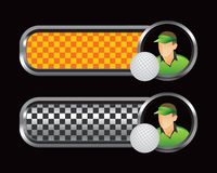 Golfer and ball on orange and black checkered tabs Stock Image