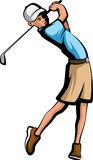 Golfer Boy. Stylized color illustration of a boy golfer swing an iron stock illustration