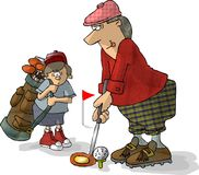 Golfer & Caddy. This illustration that I created depicts a golfer with his caddy looking on Royalty Free Stock Photography