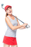 Golfer in cap with golf club on white. Background Royalty Free Stock Photo