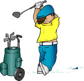 Golfer cartoon. Cartoon image of a golfer teeing off Royalty Free Stock Images