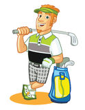 Golfer Cartoon. Cartoon Illustration of Funny Golfer Character for Mascot Royalty Free Stock Photos