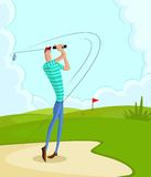 Golfer. Cartoon style golfer in vector hitting fairway shot Stock Images