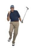 Golfer celebration. Golfer celebrating after sinking a putt, isolated on white Stock Image