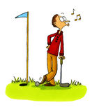 Golfer cheating - Golf Cartoons Series Number 5 Stock Photo