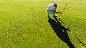 Golfer checking line for putting golf ball. Professional golfer check line for putting golf ball on green grass. Golf player crouching and study the green before Royalty Free Stock Photo