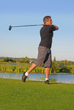 Golfer driving. Golfer swing, with the driver Royalty Free Stock Images