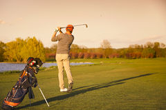 Golfer on fairway in evening. Stock Photo