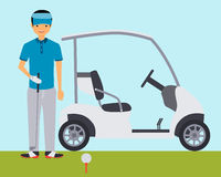 Golfer. On the field near the car. Vector illustration Royalty Free Stock Photo