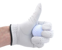 Golfer Giving Thumbs Up Sign. Golfer Wearing Golf Glove Giving Thumbs Up Sign Stock Images