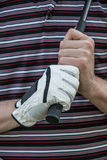 Golfer with Glove Holding Club. Golfer Hand with Glove Holding Club Close up Royalty Free Stock Image