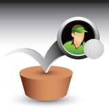 Golfer and golf ball bouncing vector illustration