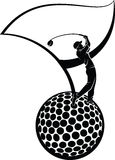Golfer, Golf Ball, & Golf Flag Silhouette. Black and white vector illustration of a golfer on a golf ball with a golf flag Stock Photo
