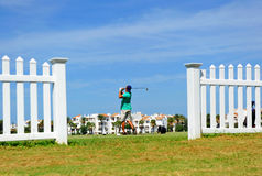Golfer on the golf course of Costa Ballena, Rota, Cadiz province, Spain Stock Photo