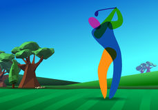 Golfer on golf course. Golf player on golf hole banner vector green tee background illustration with trees Stock Images