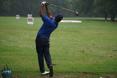 Golfer. Golf: golfer on the driving range at European Golf Tour Italian Open by Damiani stock image