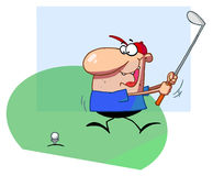 Golfer guy taking a fast swing Royalty Free Stock Image