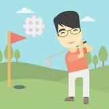 Golfer hitting the ball vector illustration. Stock Photos