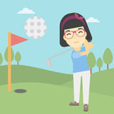 Golfer hitting the ball vector illustration. Stock Image